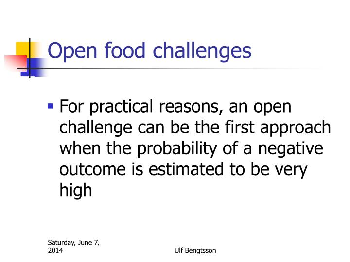 Open food challenges