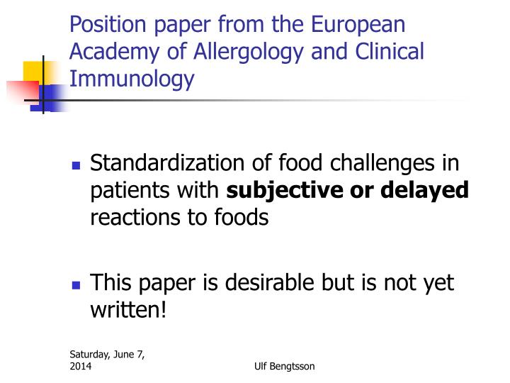 Position paper from the European Academy of Allergology and Clinical Immunology