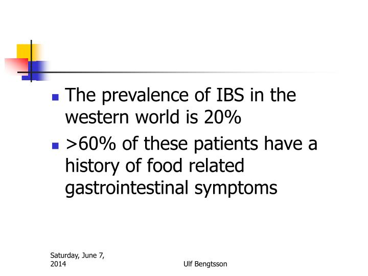 The prevalence of IBS in the western world is 20%