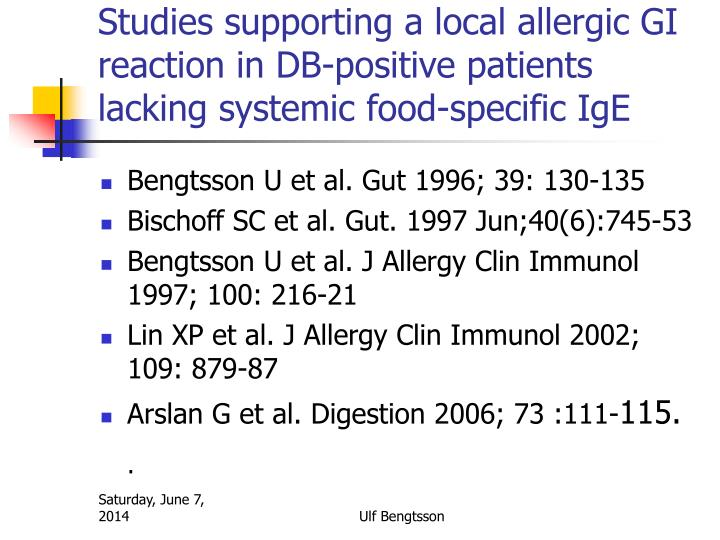 Studies supporting a local allergic GI reaction in DB-positive patients lacking systemic food-specific IgE