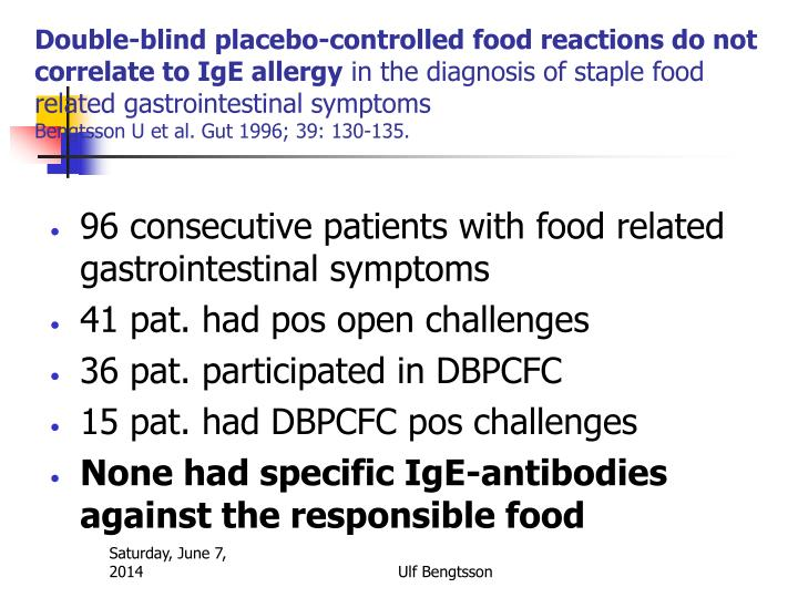 Double-blind placebo-controlled food reactions do not correlate to IgE allergy