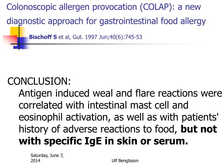 Colonoscopic allergen provocation (COLAP): a new diagnostic approach for gastrointestinal food allergy