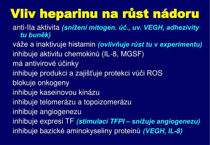 Vliv heparinu na růst nádoru
