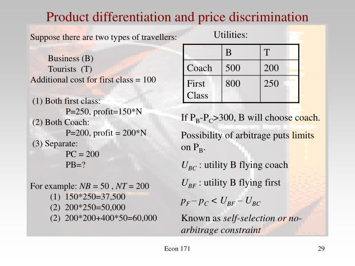 Product differentiation and price discrimination