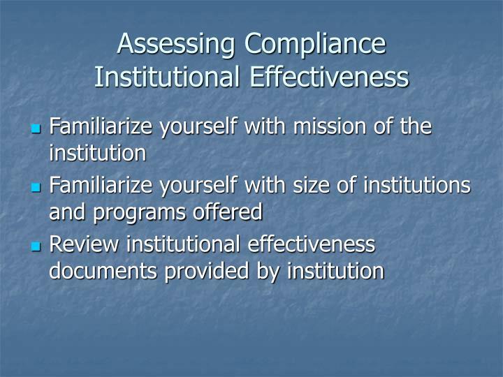 Assessing Compliance