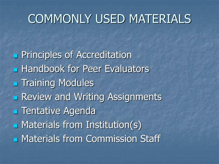 COMMONLY USED MATERIALS