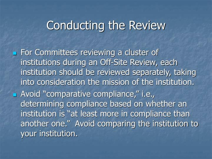 Conducting the Review