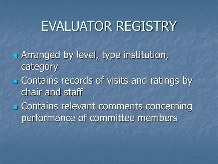 EVALUATOR REGISTRY