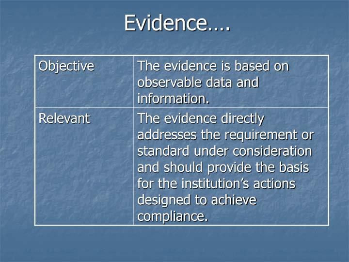 Evidence….