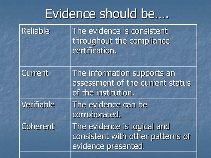 Evidence should be….