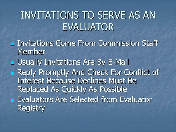 INVITATIONS TO SERVE AS AN EVALUATOR