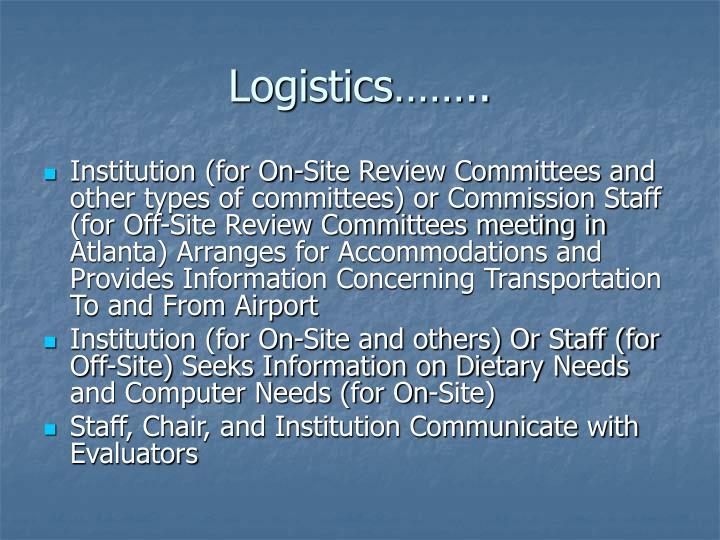 Logistics……..