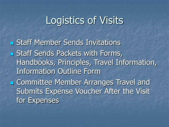 Logistics of Visits