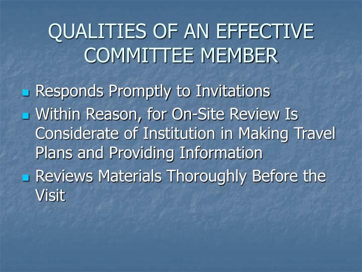 QUALITIES OF AN EFFECTIVE COMMITTEE MEMBER