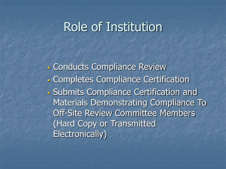 Role of Institution