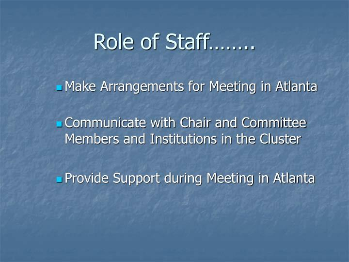 Role of Staff……..