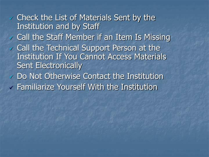 Check the List of Materials Sent by the Institution and by Staff