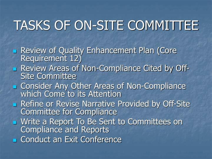 TASKS OF ON-SITE COMMITTEE