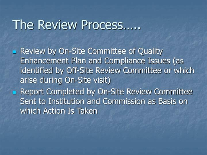 The Review Process…..