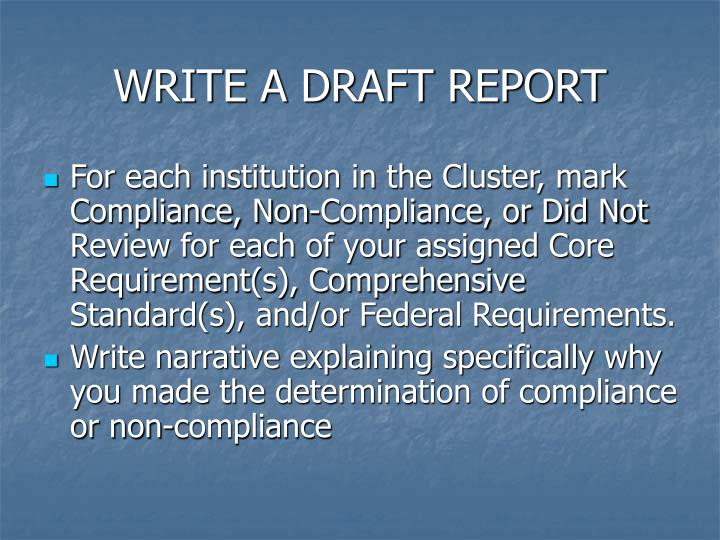 WRITE A DRAFT REPORT