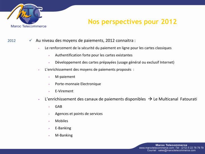 Nos perspectives pour 2012