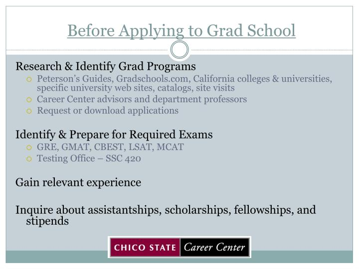 Before applying to grad school