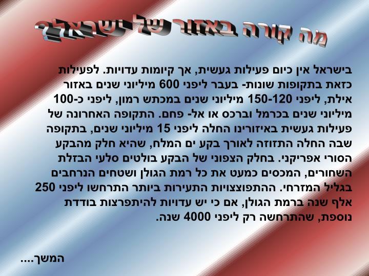 מה קורה באזור של ישראל?