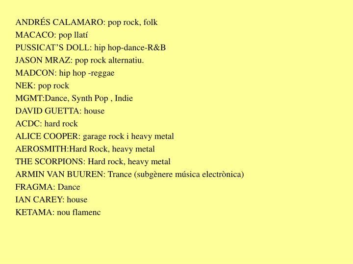 ANDRÉS CALAMARO: pop rock, folk