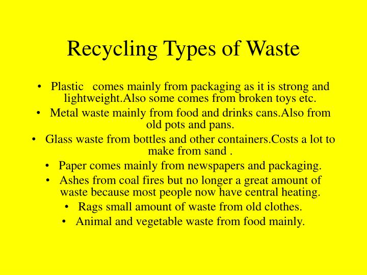 Recycling Types of Waste