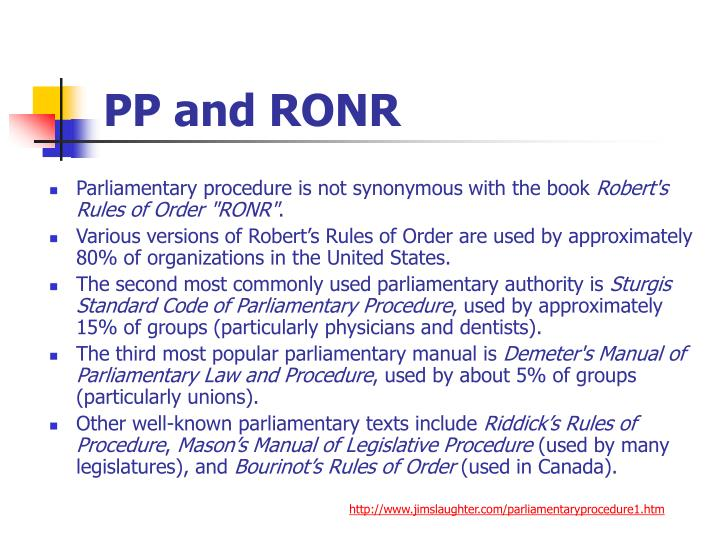 PP and RONR