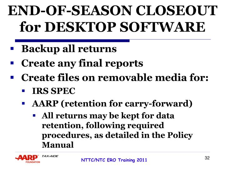 END-OF-SEASON CLOSEOUT for DESKTOP SOFTWARE