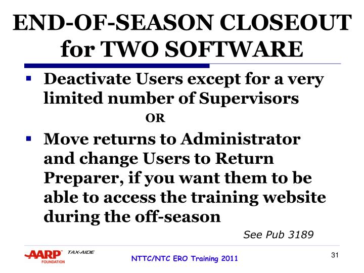 END-OF-SEASON CLOSEOUT for