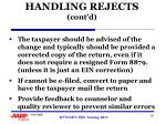 handling rejects cont d2