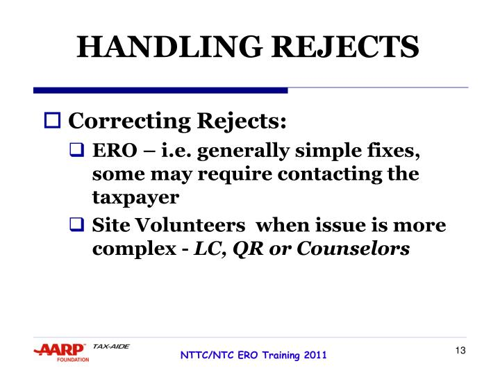 HANDLING REJECTS