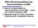 other recommendations for communications to ero