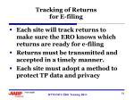 tracking of returns for e filing
