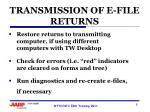 transmission of e file returns