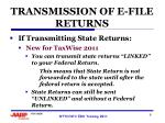 transmission of e file returns2