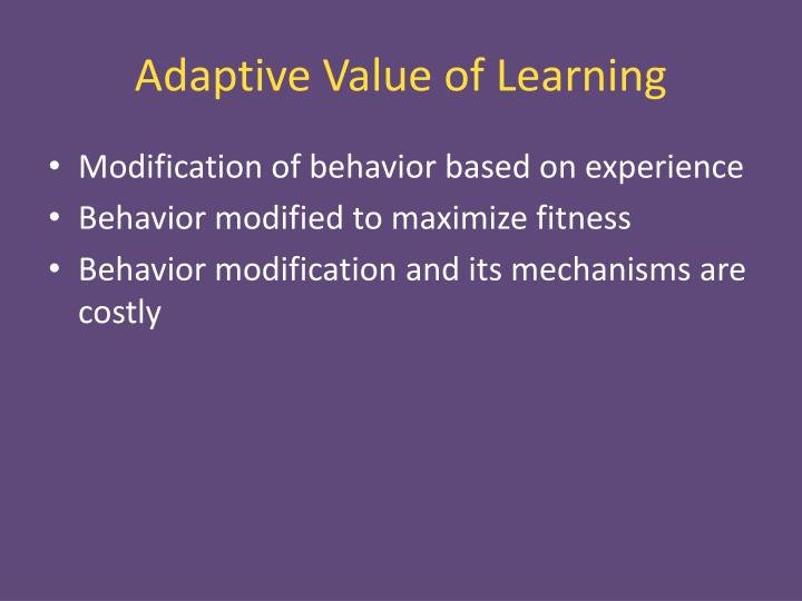 Adaptive Value of Learning