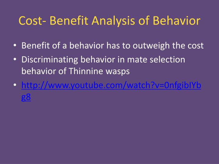 Cost- Benefit Analysis of Behavior