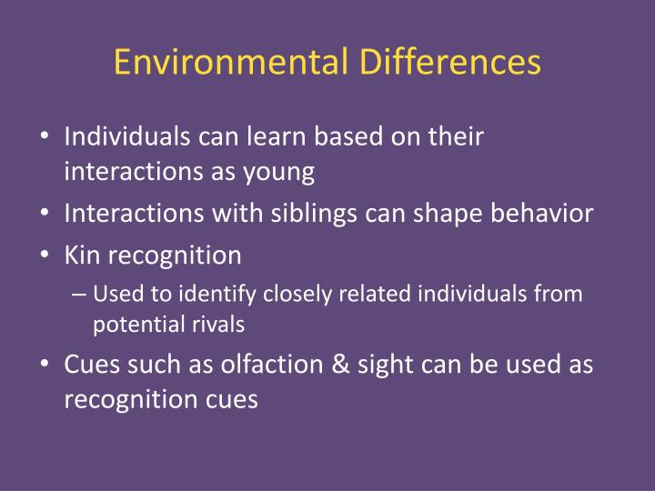 Environmental Differences