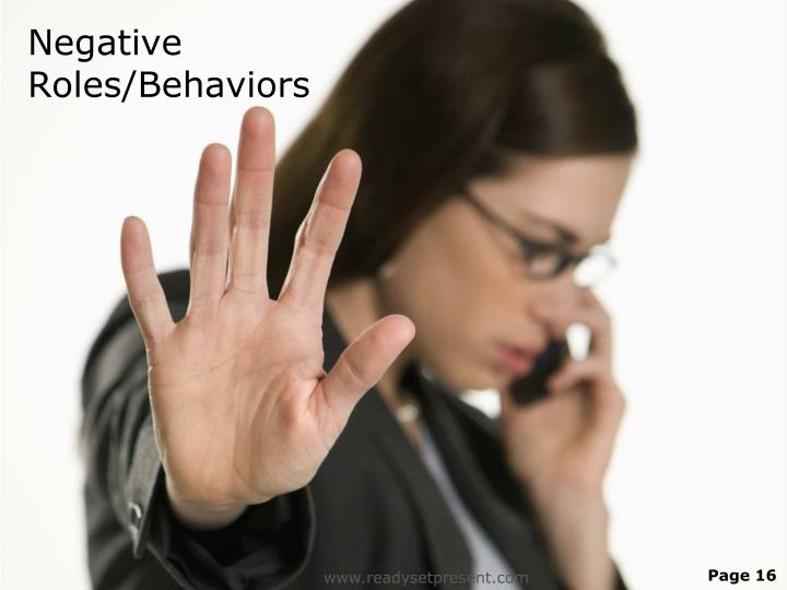 Negative Roles/Behaviors
