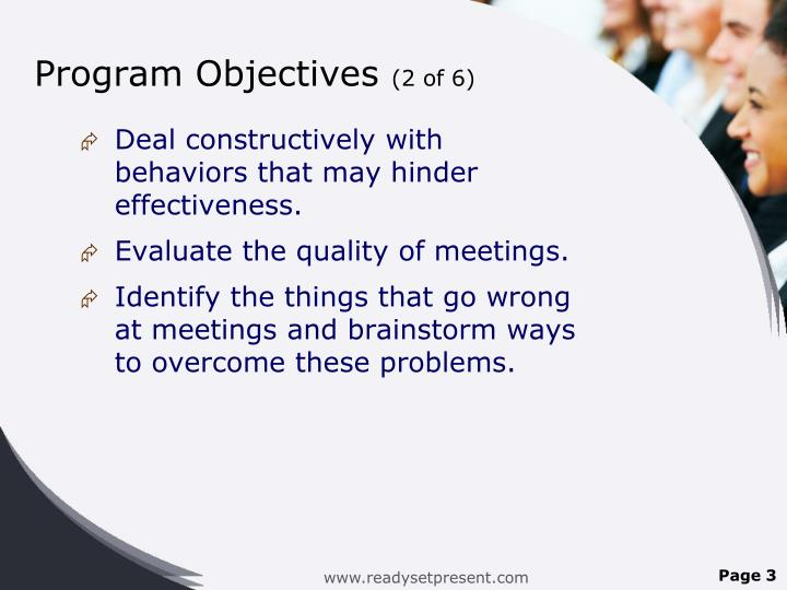 Program objectives 2 of 6