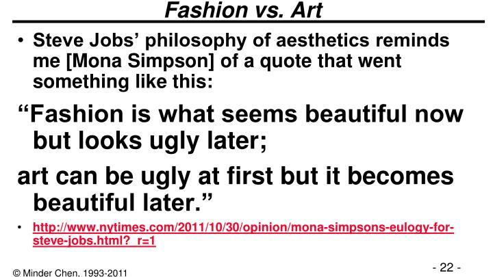 Fashion vs. Art