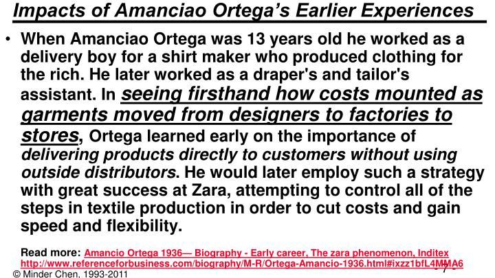Impacts of Amanciao Ortega's Earlier Experiences
