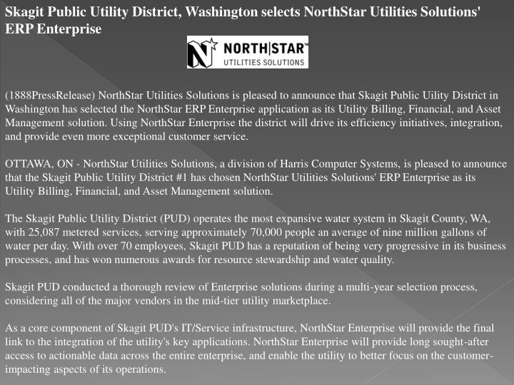 Skagit Public Utility District, Washington selects NorthStar Utilities Solutions' ERP Enterprise