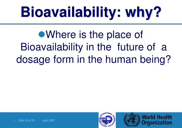 Bioavailability: why?