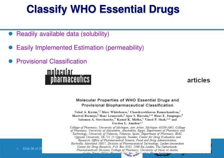 Classify WHO Essential Drugs