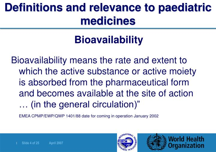 Definitions and relevance to paediatric medicines