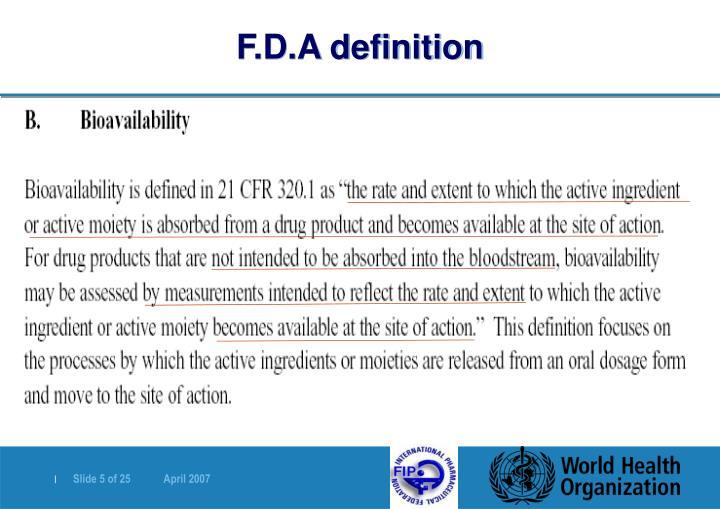 F.D.A definition